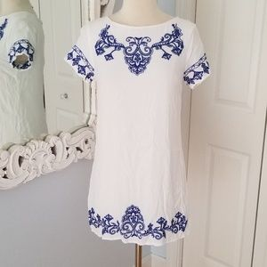 Lulu's Blue and White Patterned Sheath Dress Small